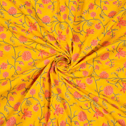 Yellow Pink and Green Floral Cotton Fabric-28587