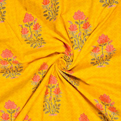 Yellow Pink and Green Floral Cotton Fabric-28588