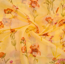 Yellow Pink and Green Floral Organza Silk Fabric-22337
