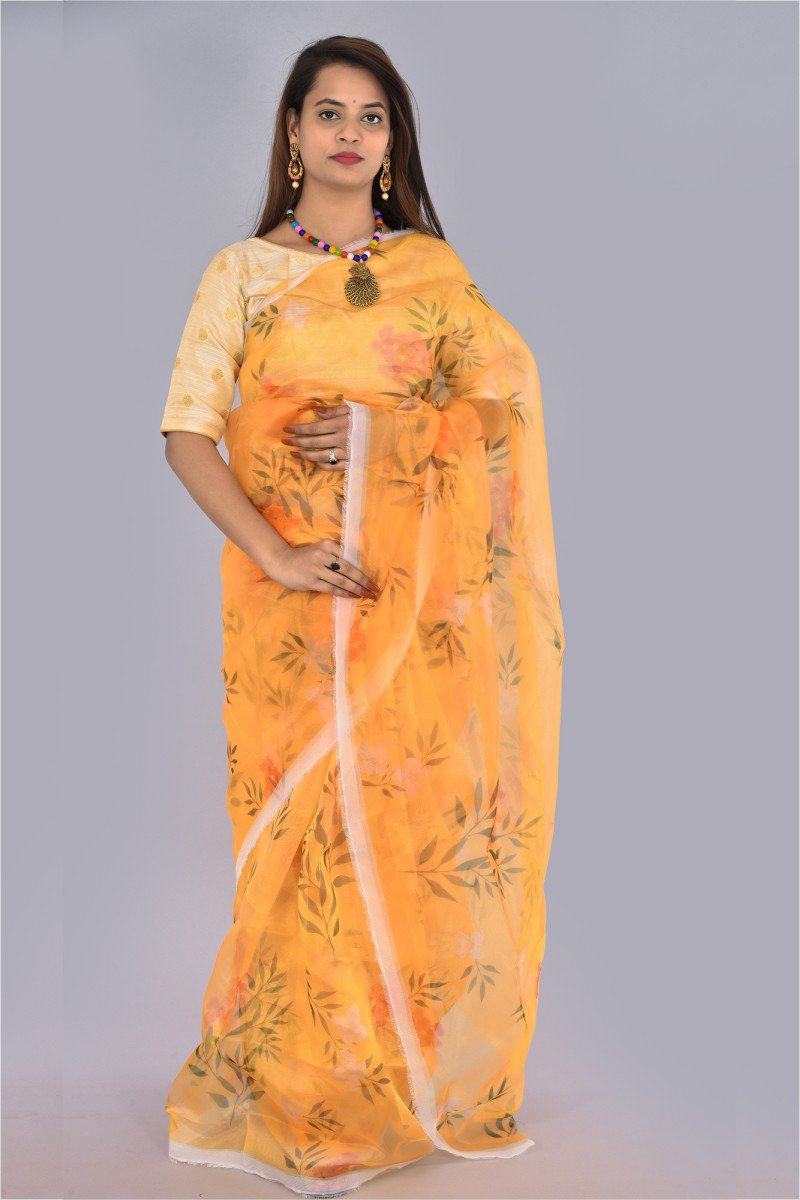 Yellow Pink and Green Organza Digital Printed Saree-36194