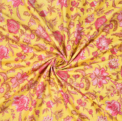 Yellow Pink and White Floral Cotton Fabric-28589