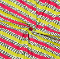Yellow Pink and White Leheriya Cotton Fabric-28092