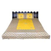 Yellow  Print Cotton Double Bed Sheet -0RC03Y