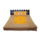 Yellow  Print Cotton Double Bed Sheet -0RGU030