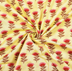 Yellow Red Floral Block Print Cotton Fabric-28411