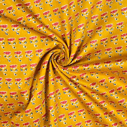 Yellow Red Floral Cotton Fabric-28606