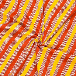 Yellow Red Leheriya Cotton Fabric-28116