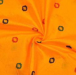 Yellow Red and Blue Polka Brocade Silk Fabric-12184