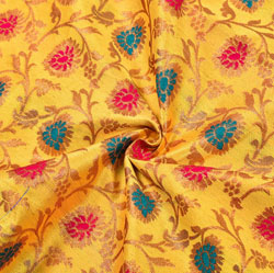 Yellow Red and Golden Floral Brocade Silk Fabric-12206