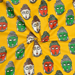 Yellow Red and Green Buddha Cotton Kalamkari Fabric-28026