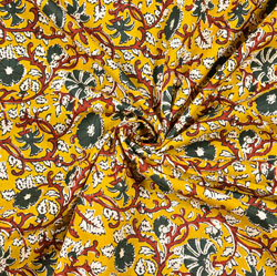Yellow Red and Green Floral Block Print Cotton Fabric-28499
