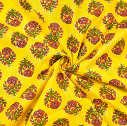 Yellow Red and Green Floral Block Print Cotton Fabric-28500