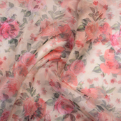 Cream-Red and Green Floral Digital Organza Fabric-51230