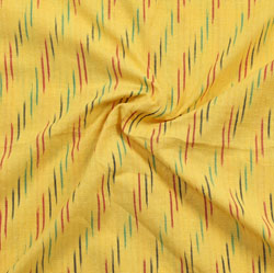 Yellow Red and Green Ikat Cotton Fabric-11051