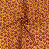 Yellow-Red and White Floral Design Block Print Cotton Slub Fabric-14329