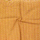 Yellow-Red and White Small Floral Design Block Print Cotton Slub Fabric-14330