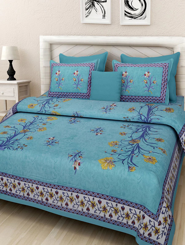 Yellow Sea Green Cotton Jaipuri Bedsheet-665