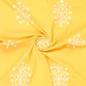 Yellow White Block Print Cotton Fabric-14868