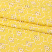 Yellow White Block Print Cotton Fabric-14870