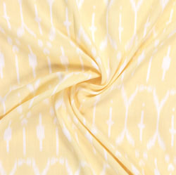 Yellow White Block Print Rayon Fabric-16207
