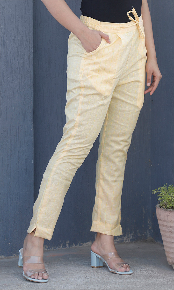 Yellow White Cotton Stripe Ankle Women Pant-34466