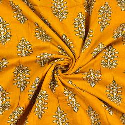 Yellow White Floral Block Print Cotton Fabric-28460