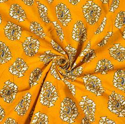 Yellow White Floral Block Print Cotton Fabric-28467