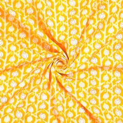 Yellow White Floral Block Print Cotton Fabric-28544