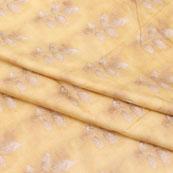 Yellow White Flower Jam Cotton Fabric-15258