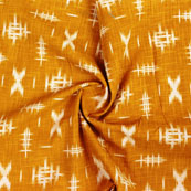 Yellow White Ikat Block Print Cotton Fabric-14852