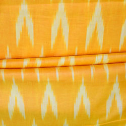 Yellow White Ikat Cotton Fabric-11155