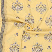 Yellow White Kantha tree Print Cotton Fabric-15132