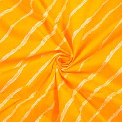 Yellow White Leheria Block Print Cotton Fabric-28410
