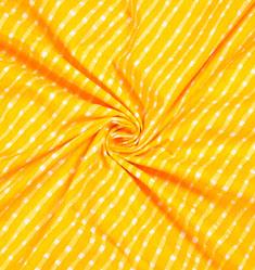 Yellow White Leheria Block Print Cotton Fabric-28533