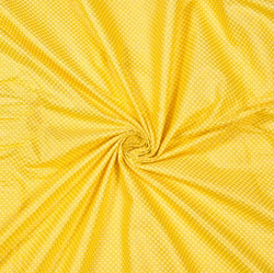 Yellow White Polka Cotton Fabric-28604