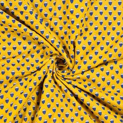 Yellow White and Blue Floral Block Print Cotton Fabric-28553