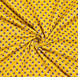 Yellow White and Brown Floral Block Print Cotton Fabric-28552