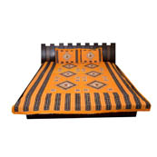 Yellow and Black  Print Cotton Double Bed Sheet -0T10