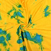 Yellow and Blue Satin Batik Fabric-32054