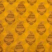 Yellow and Brown paisley Pattern Brocade Silk Fabric by the yard