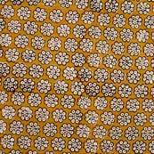 Yellow and Cream Flower Block Print Cotton Fabric by the yard