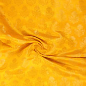 Yellow and Golden Brocade Silk Fabric-8869