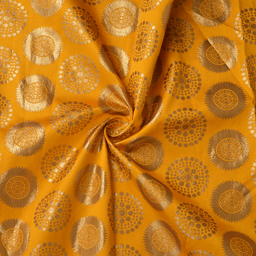 Yellow and Golden Circular Pattern Silk Brocade Fabric-8377