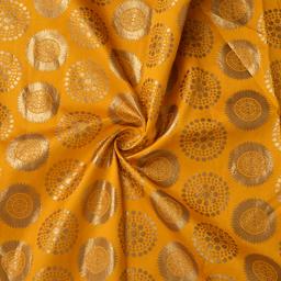 Yellow and Golden Circular Pattern Silk Brocade Fabric-8377