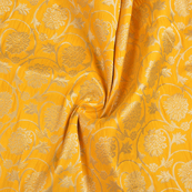 Yellow and Golden Floral Brocade Banarasi Fabric-8669