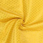 Yellow and Golden Floral Brocade Silk Fabric-8902