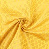 Yellow and Golden Floral Brocade Silk Fabric-8915