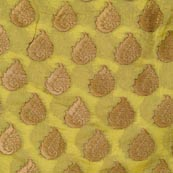 Yellow and Golden Floral Pattern Chanderi Indian Fabric-4382