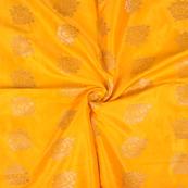 Yellow and Golden Floral Two Tone Banarasi Silk Fabric-8438