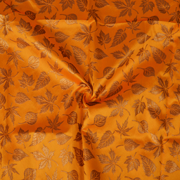 Yellow and Golden Leaf Design Silk Brocade Fabric-8366